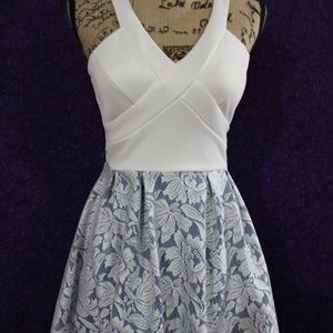 blue & white lace cocktail mini dress